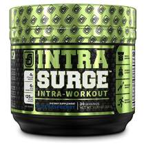 INTRASURGE Intra Workout Energy BCAA Powder - 6g BCAA Amino Acids, Natural Caffeine, 4g Citrulline Malate, and More for Muscle Building, Strength, Pumps, Endurance, & Recovery - Blue Raspberry, 20sv