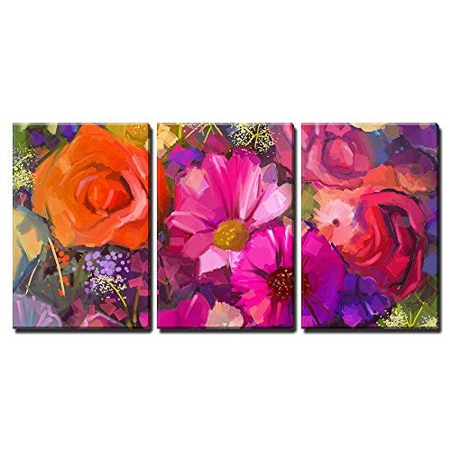 """wall26 - 3 Piece Canvas Wall Art - Still Life of Yellow and Red Colour Flowers - Modern Home Decor Stretched and Framed Ready to Hang - 16""""x24""""x3 Panels"""