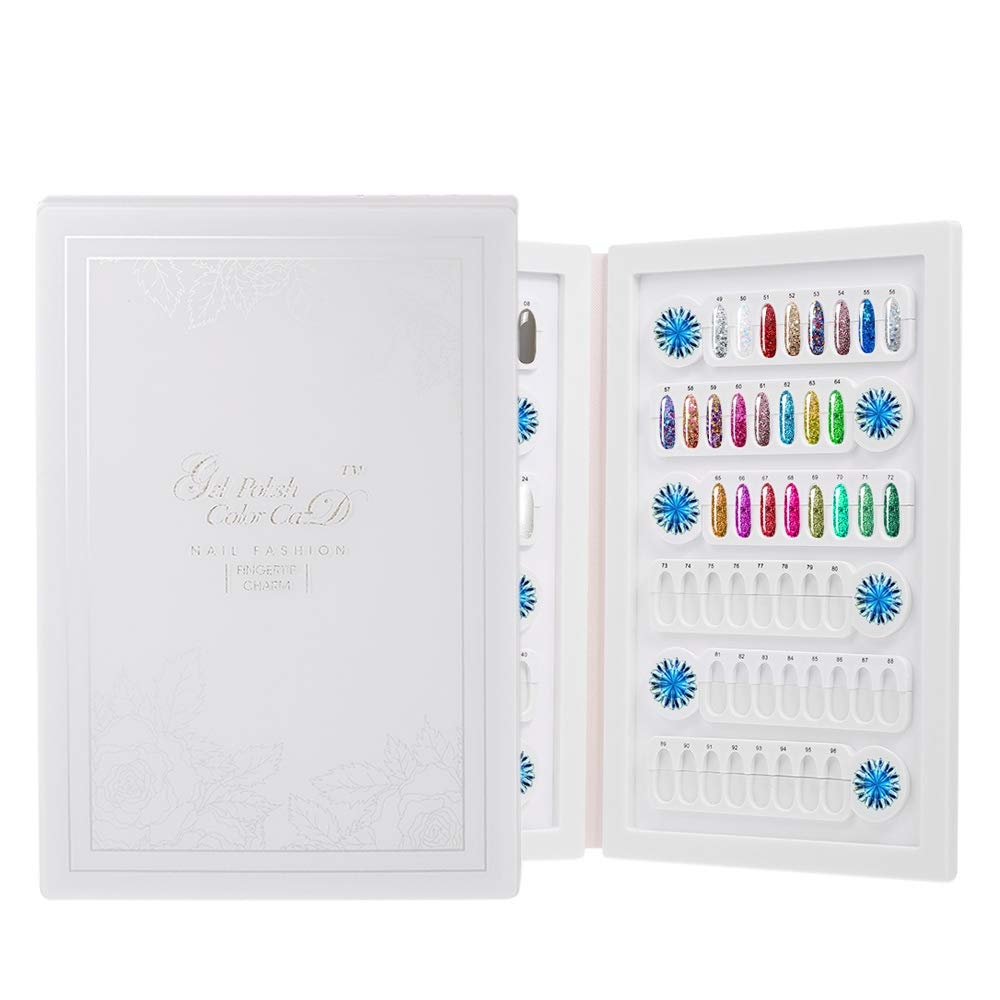 Anself 96 Colors Nail Color Display,Detachable Nail Gel Polish Chart (Don't Include the Tips) - White