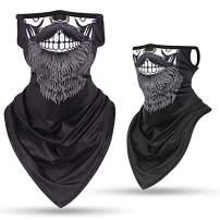 Hissox Face Bandana Mask, Ear Loops Face Balaclava Cover Men Women Neck Gaiters for Dust Wind Sun