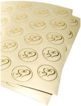 Darice, Gold VL3470, Foil Double Heart Round Envelope Seal, 50-Piece, 2-Sheets, 1 Pack