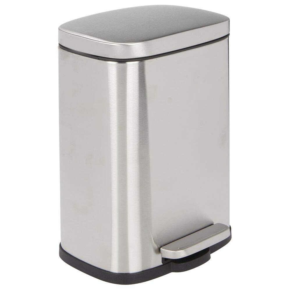mDesign 1.3 Gallon Rectangular Small Step Trash Can Wastebasket, Garbage Container Bin for Bathroom, Powder Room, Bedroom, Kitchen, Craft Room, Office - Removable Liner Bucket, Hands-Free - Brushed
