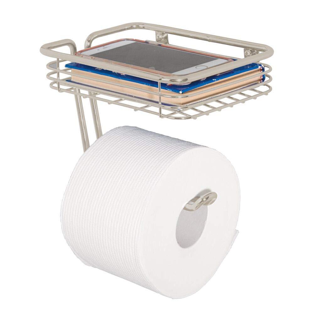 mDesign Toilet Tissue Paper Holder and Multi-Purpose Shelf - Wall Mount Storage Organizer for Bathroom, Holds 1 Mega Rolls - Durable Metal Wire Design - Satin