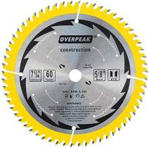 """OVERPEAK 7-1/4 inch circular Saw Blade, 60 Tooth ATB Fine Finishing Saw Blades, Wood Cutting Blades, 5/8"""" Arbor and PermaShield Coating"""