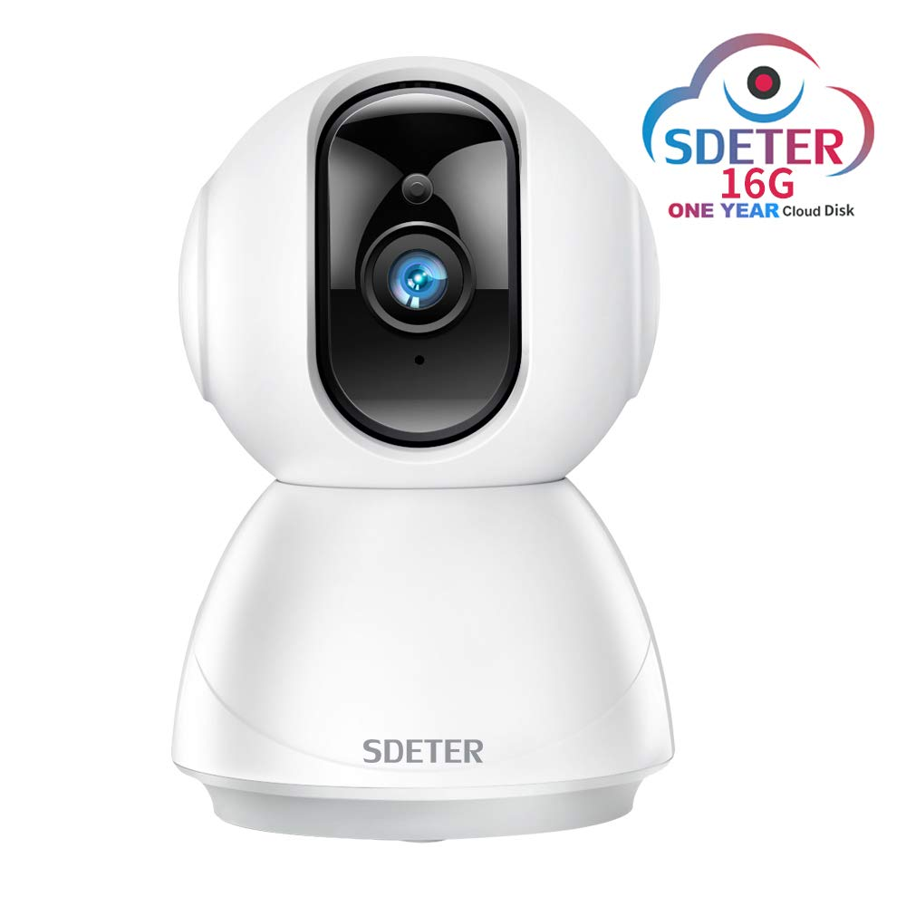 SDETER 1080P Security WiFi IP Dome Camera, Wireless 2-Way Audio Motion Detection Night Vision Baby/Pet Monitor Includes One Year 16G Cloud Disk