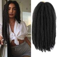 Ayana 6packs Marley Hair for Twists 18 Inch Long Afro Kinky Marley Braid Hair Kanekalon Synthetic Fiber Marley Braiding Hair Extensions (18inch, 1B)