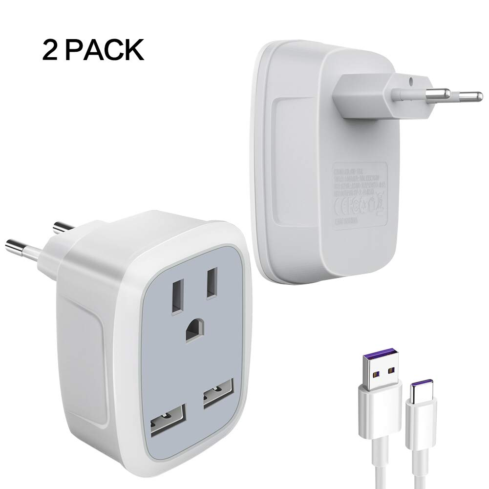 Wall Travel Adapter Charger European Adapter Plug UK/EU-US with Dual USB Charger Port Converter for iPhone Samsung Action Cam Tablet