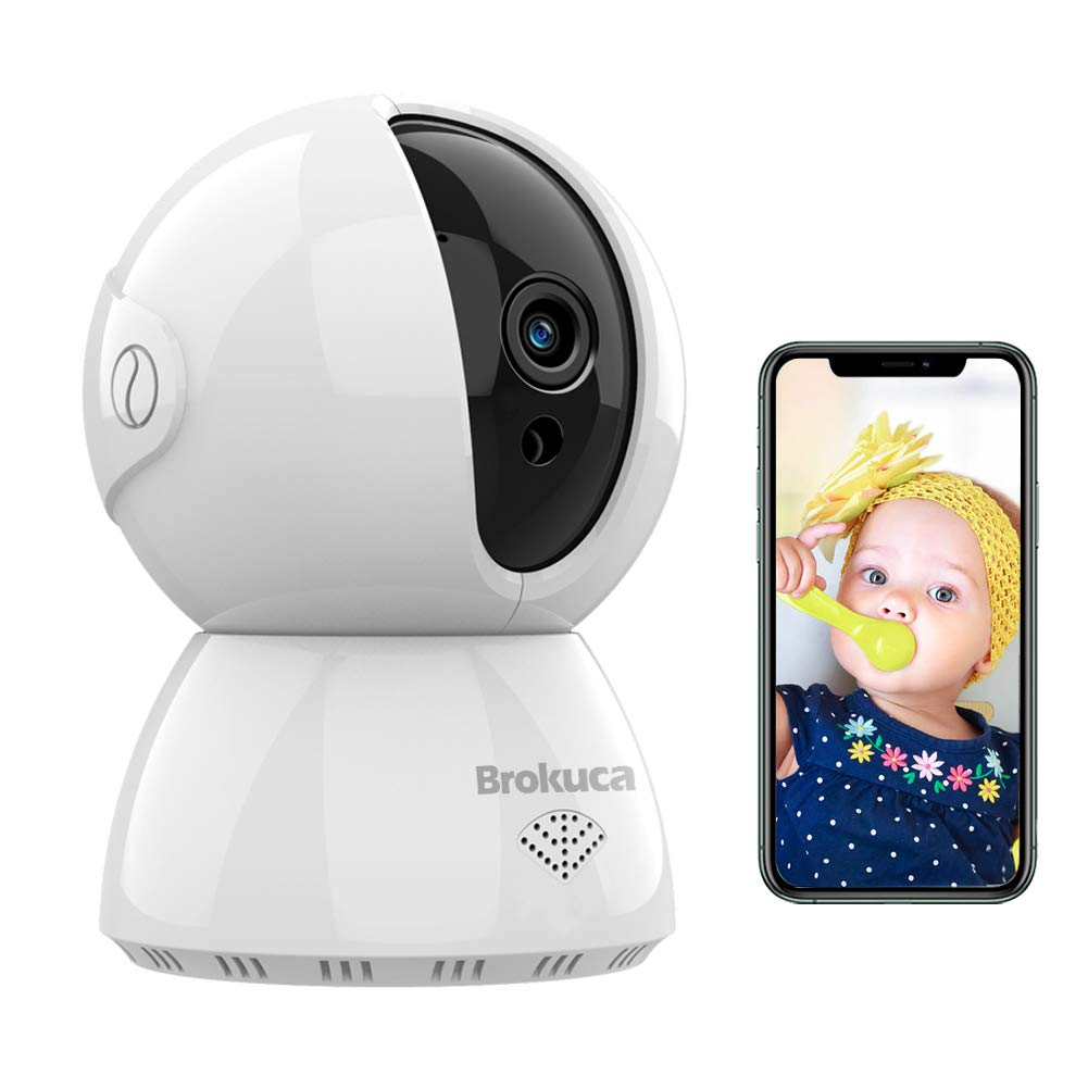 Baby Monitor with Camera and Audio, Brokuca Wireless Security Camera for Home, 1080P FHD 2.4GHz WiFi Camera Indoor, Motion Detection with Night Vision, Two-Way Audio, Works with Alexa