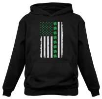 St. Patrick's Day Big Irish American Flag with Clovers Hoodie