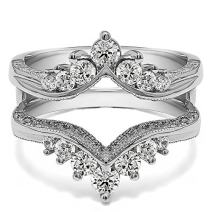 TwoBirch Sterling Silver Chevron Vintage Ring Guard with Millgrained Edges and Filigree Cut Out Design With Cubic Zirconia (0.74 ct.)