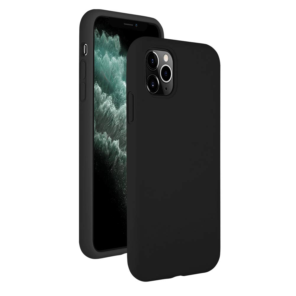 iTLTL Protective Silicone Case for iPhone 11 Pro Max, Featuring [ Soft Corner Design ] Liquid Silicone Case with Microfiber Lining, Full Body Protection Shock-Proof Phone Cover (Black)