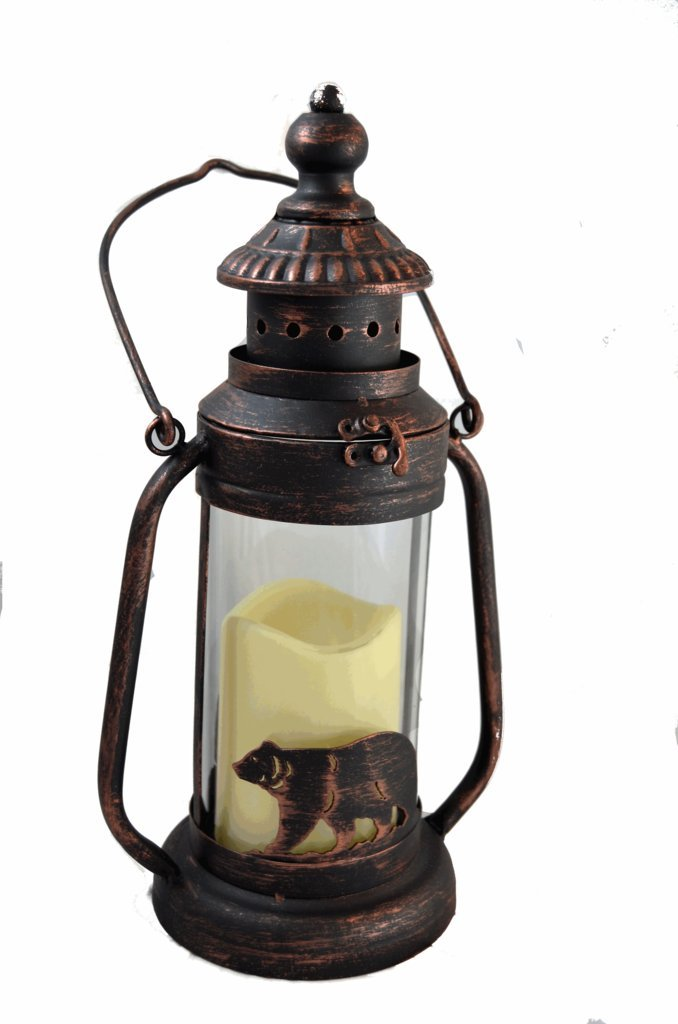 Bear Led Candle Lantern Lights Decorative Metal Round Holder Tabletop Hanging Lantern For Indoor Outdoor By Pine Ridge 3aaa Battery Operated Flameless Decor Halloween Christmas