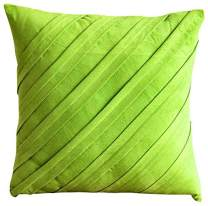 Lime Green Decorative Pillow Cover, Textured Pintucks Solid Throw Pillow Cover, Pillow Cover 20x20 inch (50x50 cm), Contemporary Throw Pillow Cover, Faux Suede - Contemporary Lime