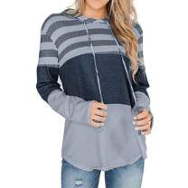 2020 Womens Cowl Neck Color Block Striped Tunic Sweatshirt Drawstring Pullover Tops