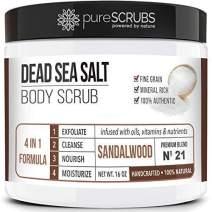 pureSCRUBS Premium Organic Body Scrub Set - Large 16oz SANDALWOOD BODY SCRUB - Dead Sea Salt Infused Organic Essential Oils & Nutrients INCLUDES Wooden Spoon, Loofah & Mini Organic Exfoliating Bar