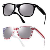 Mirrored Sunglasses Men Women USA Flag and Black