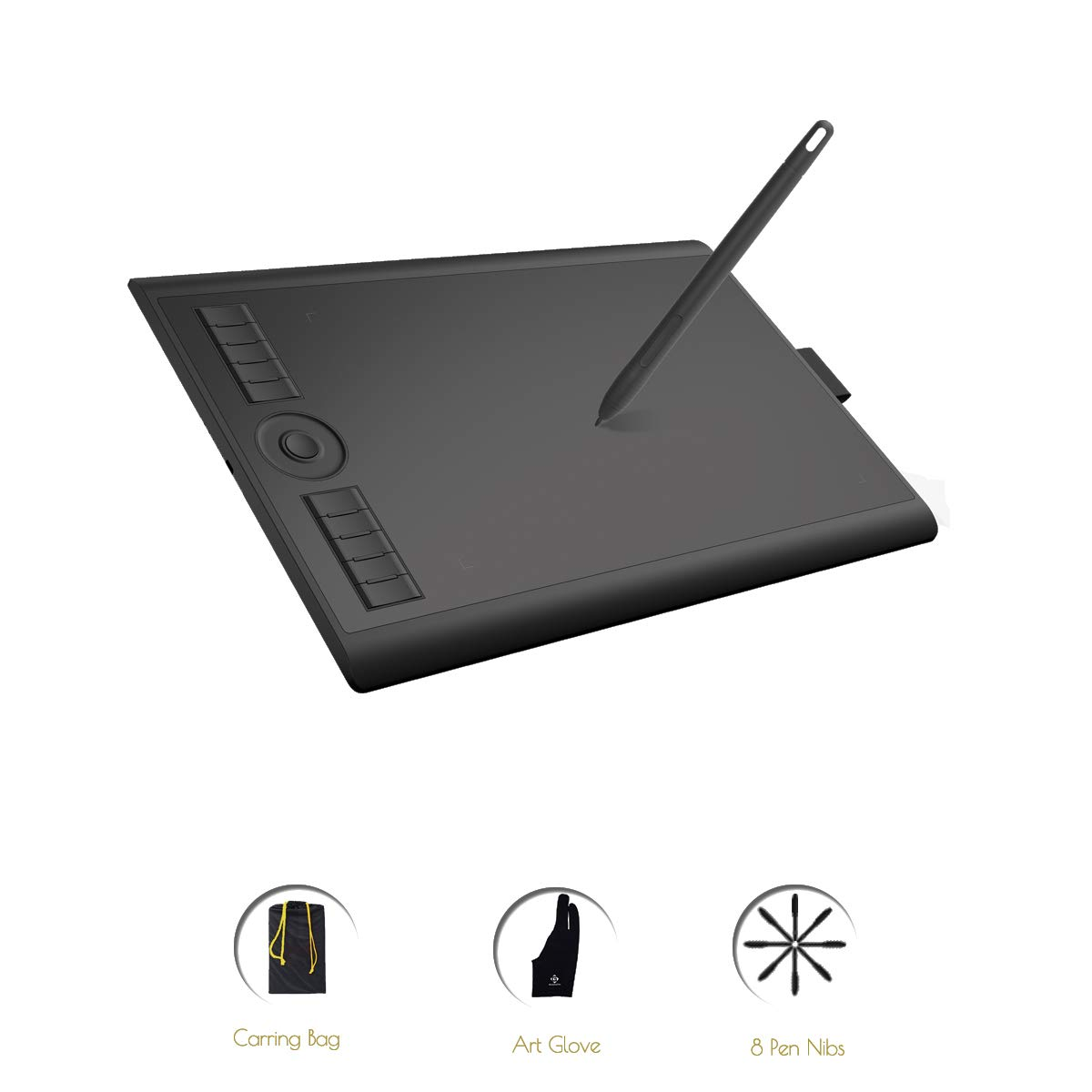 GAOMON M10K2018 Graphic Drawing Pen Tablet with 8 Nibs 1 Glove and 8192 Battery-Free Stylus -10 x 6.25 Inches