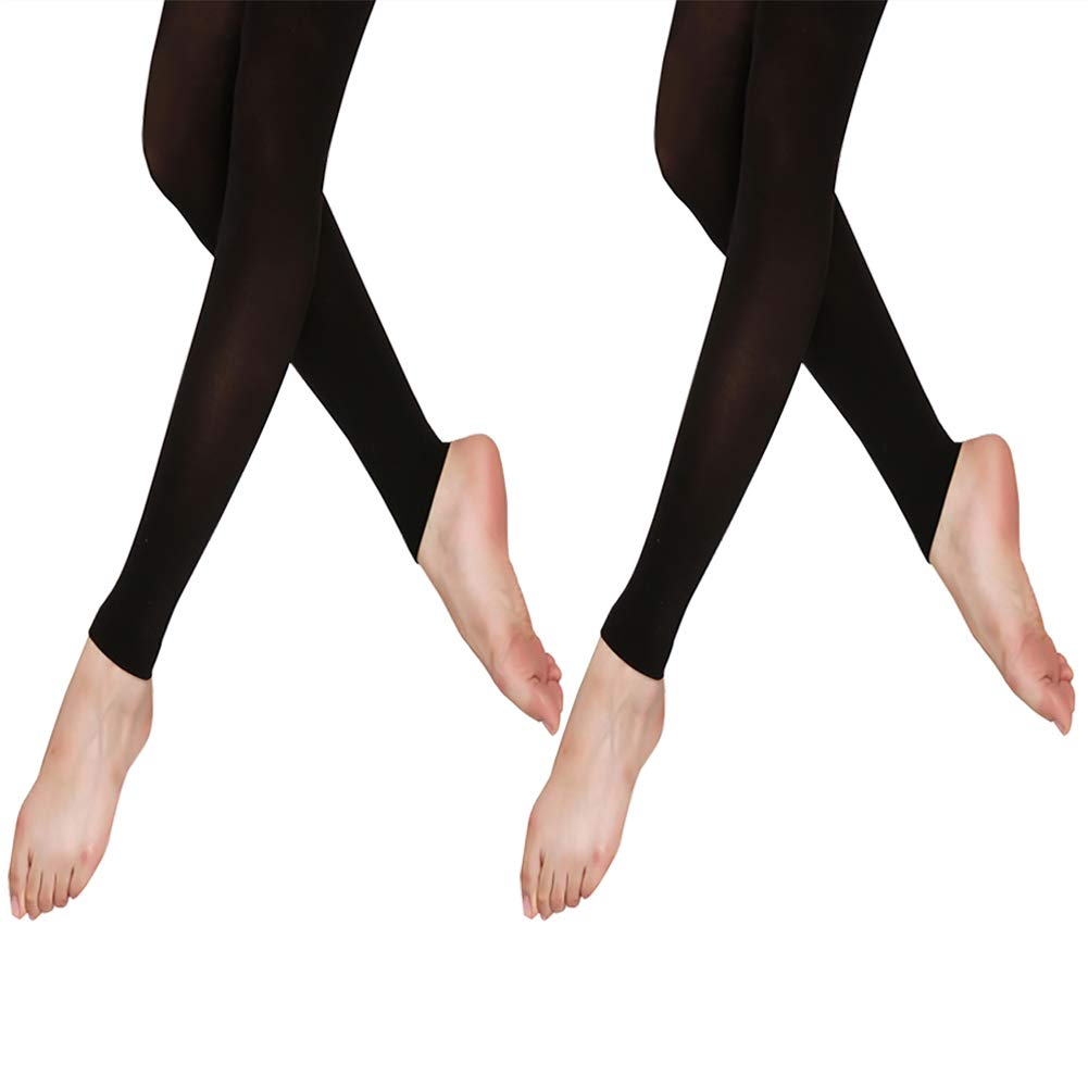 DANCEYOU 70 Denier Dance Stirrup/Footless Tights Pantyhose for Women Big Girls Pack of 2