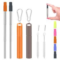 2 Pack Reusable Portable Metal Straws, Fomuson Telescopic Foldable Stainless-Steel Drinking Straw with Case and Cleaning Brush Carabiner for Coffee Juice Smoothie Milkshake BPA Free (Orange, Grey)