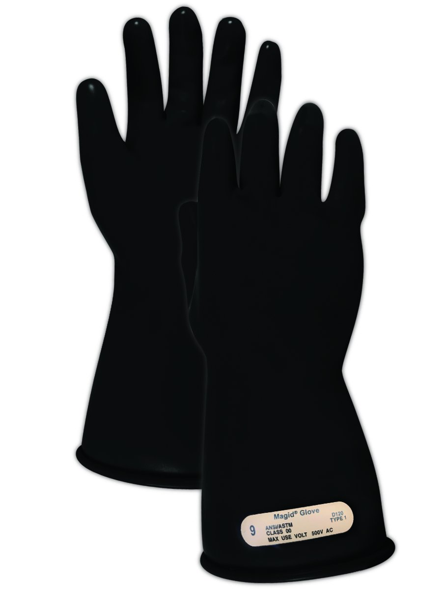 "Magid M00 A.R.C. Natural Latex Rubber Class 00 Insulating Glove with Straight Cuff, Work, 11"" Length, Size 11, Black"