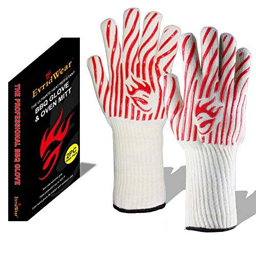 Evridwear 932°F Extreme Heat and Cut Resistant BBQ Gloves Oven Mitts, Non-Slip Silicone Coated Pot Holders for Cooking, Baking, Grilling, Fireplace and Microwave (Red Stripe, One Size-Extended Cuff)