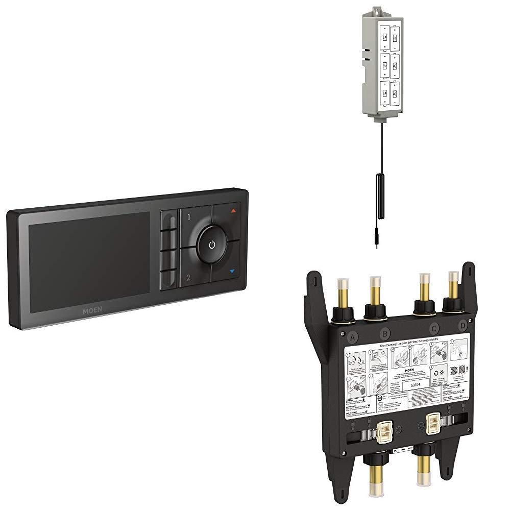 Moen TS3304BL U by Moen Digital Shower Controller with S3104 U by Moen Digital Shower Valve 4-Outlet and Backup Battery Pack