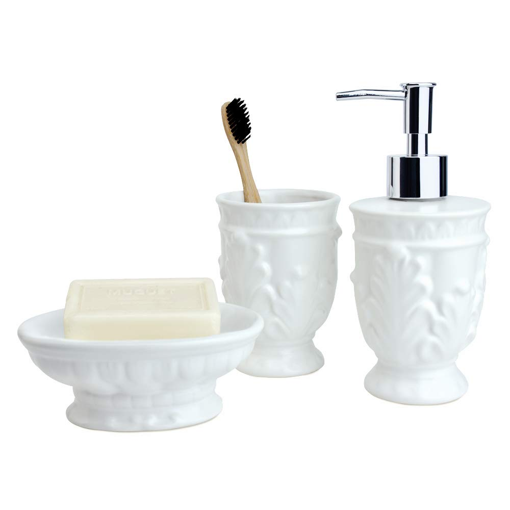 Satu Brown Bathroom Soap Dispenser Set