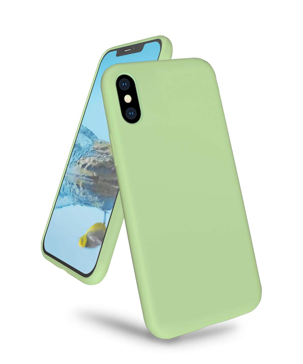 "K TOMOTO Phone Case for iPhone Xs Max, Ultra Slim Full Body Liquid Silicone Gel Rubber Shockproof Protective Case with Soft Microfiber Cloth Lining Cover for iPhone Xs Max 6.5"", Mint Green"