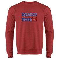 Pop Threads Ronald Reagan George Bush 1984 Campaign Crewneck Sweatshirt for Men