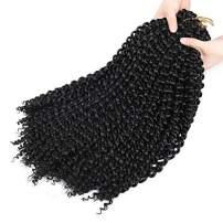 7 Packs Passion Twist Hair 18 Inch Water Wave Synthetic Braids for Passion Twist Crochet Braiding Hair Goddess Locs Long Bohemian Locs Hair Black Color (7pack 1B)