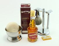 GBS Shaving Gift Set-Long Handle Safety Razor Made in Solingen Germany MK23 Conk Amber Aftershave Cologne Badger Shaving Brush Chrome Shave Bowl Stainless Brush/Razor Stand Natural Shave Soap 5 Blades