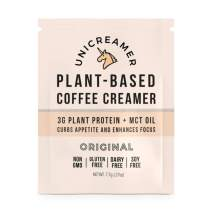 Unicreamer Vegan Non Dairy Coffee Creamer (New & Improved) - Single Serve Individual Packets With Pea Protein Powder & MCT oil   Eco Friendly, Keto & Gluten Free Plant Based (Original, 12 pack)