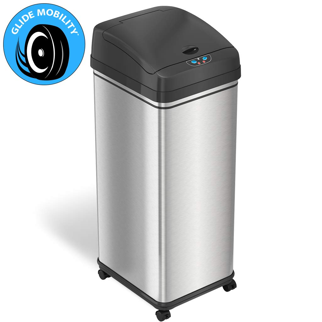 iTouchless 13 Gallon Glide Sensor Trash Can 7 Filters Odor Control System, Automatic Kitchen and Office Garbage Bin, Stainless Steel with Caster Wheels