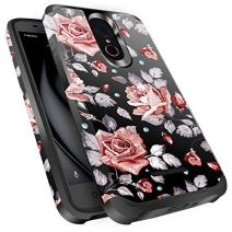 T-Mobile REVVL Plus Case, Miss Arts Slim Anti-Scratch Kit with [Drop Protection] Heavy Duty Dual Layer Hybrid Sturdy Armor Cover Case for T-Mobile REVVL Plus -Rose Gold Flower/Black