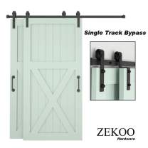 ZEKOO Bypass Sliding Barn Door Hardware Kit, Single Track, One-Piece Rail, Double Wooden Doors Use, Flat Track Roller, Low Ceiling (6 FT Single Track Bypass)