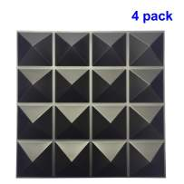 TroyStudio Acoustic Sound Diffuser Panel - Multiple Colors, 12'' X 12'' X 1'', PACK of 4 (Black)