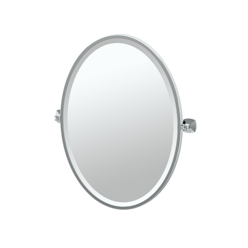 "Gatco 4149F Jewel Framed Oval Mirror, Chrome, 27.5""H"