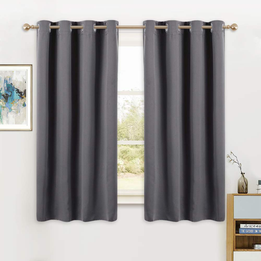PONY DANCE Short Blackout Curtains - Grey Thermal Insulated Window Curtain Treatments Light Block Energy Saving Drapes Eco-Friendly for Bedroom, Width 52 by Length 45 Inches, Gray, 2 Panels