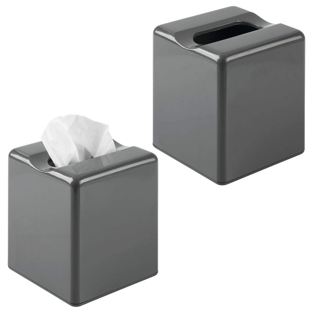 mDesign Modern Square Plastic Paper Facial Tissue Box Cover Holder for Bathroom Vanity Countertops, Bedroom Dressers, Night Stands, Desks and Tables - 2 Pack - Slate Gray