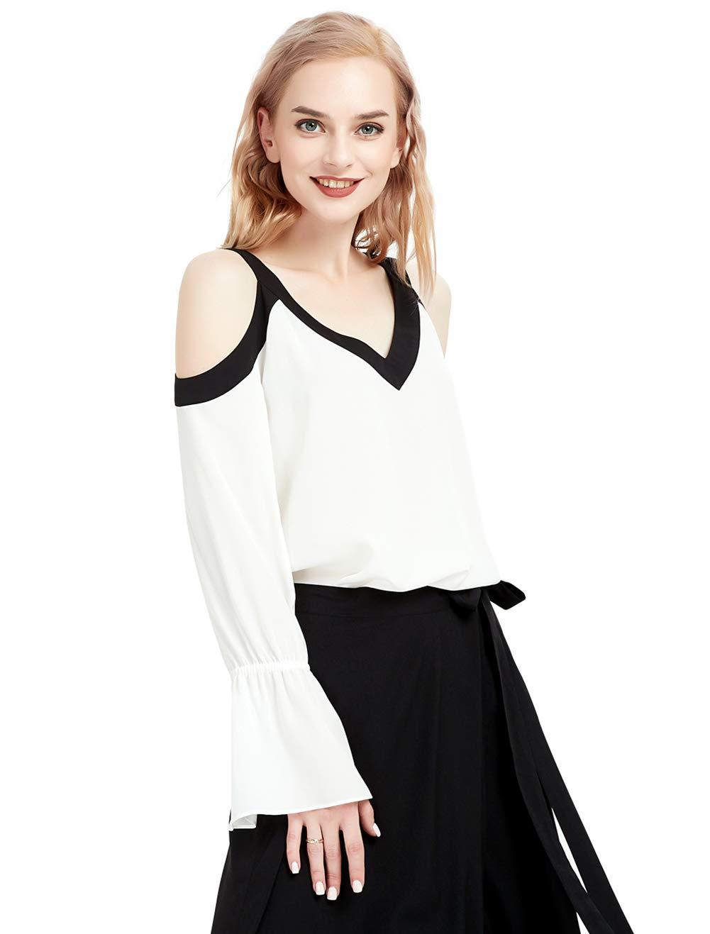 Basic Model Cold Shoulder Tops for Women Casual V/Round Neck Short/Long Sleeve Blouses Shirts