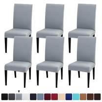 JQinHome 6 Pcs Dining Chair Slipcover,High Stretch Removable Washable Chair Seat Protector Cover for Home Party Hotel Wedding Ceremony (Charcoal Gray)