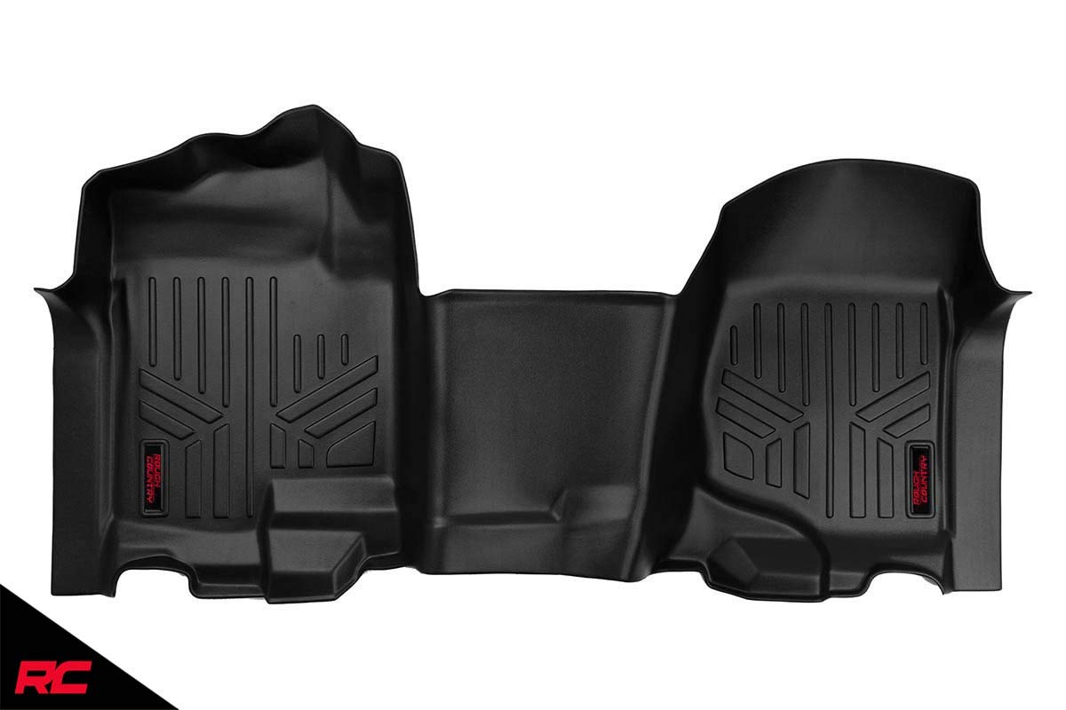 Rough Country Floor Liners (fits) 2007-2013 Chevy Silverado GMC Sierra Bench Seats   1st Row   Floor Mats   M-2107