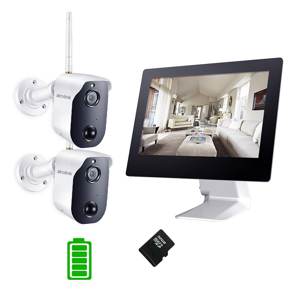 Alrolink 1080P Wireless Rechargeable Battery Camera System,4CH 100% Wifi NVR with 9inch Touchscreen LCD Monitor,2Pcs 1080P Indoor Outdoor Cameras 2 Way Audio PIR Motion Detection for home surveillance