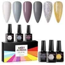 Gel Nail Polish Sets 6 Colors Glitter White Grey Nail Art Gift Box UV LED Soak Off Nail Gel Kit 8ml