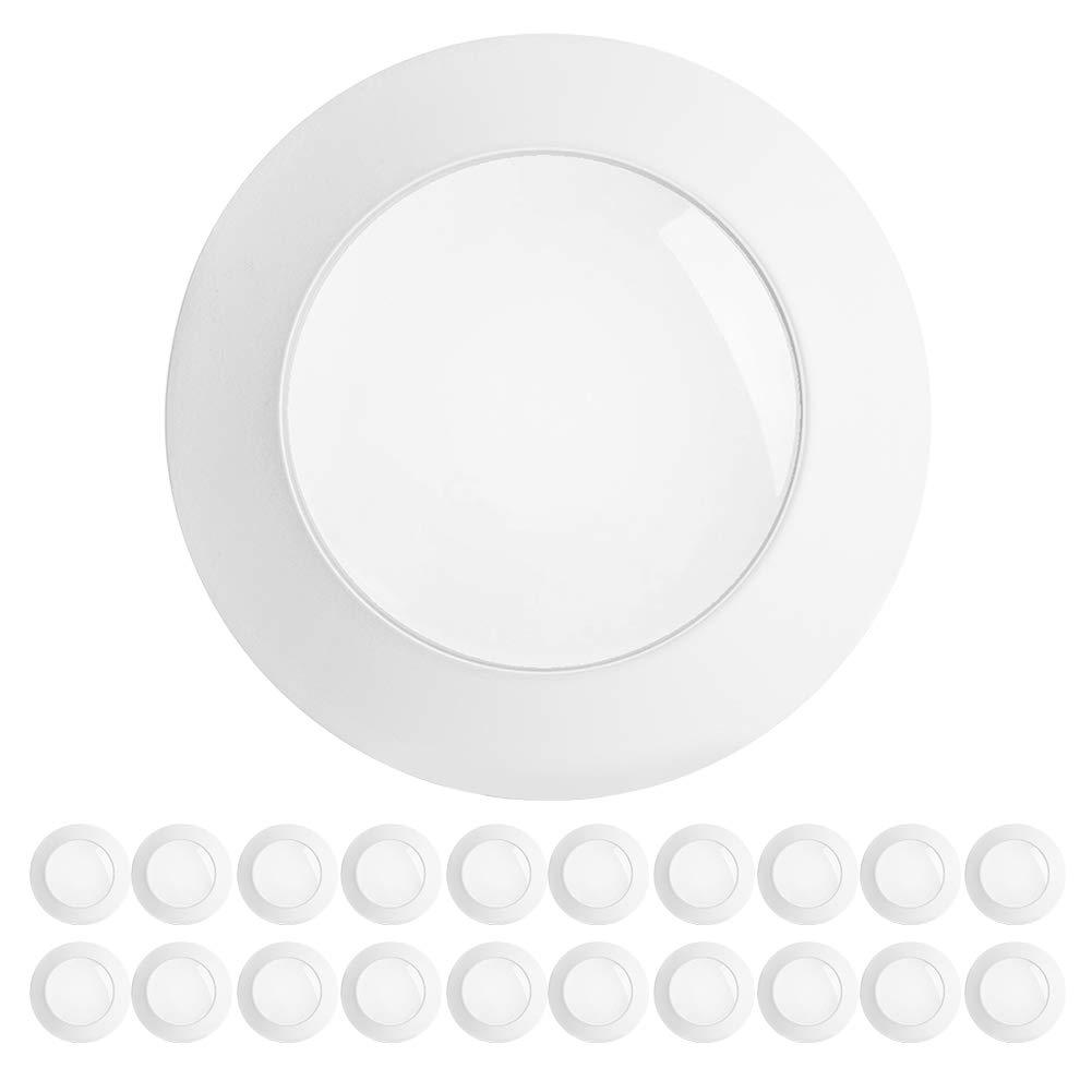 "Freelicht 20 Pack 5/6 Inch Flush Mount LED Disk Light, 15W=120W, 3000K Warm White, 1100LM, Dimmable, Hardwire 4/6"" Junction Box, Recessed Retrofit Ceiling Fixture, Energy Star&ETL"
