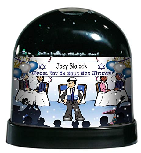 PrintedPerfection.com Personalized NTT Cartoon Caricature Snow Globe Gift: Bar Mitzvah Boy