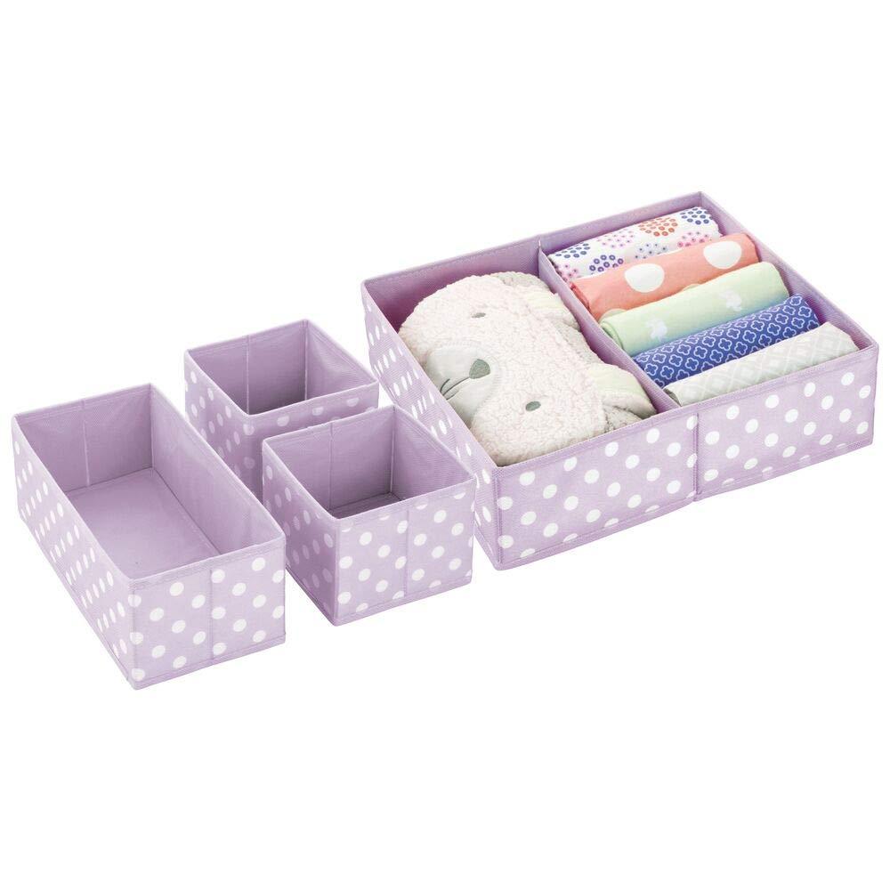 mDesign Soft Fabric Dresser Drawer and Closet Storage Organizer Set for Child/Baby Room or Nursery - Set of 4 Organizers, Textured Print - Light Purple/White