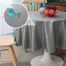sancua Waterproof Vinyl PU Tablecloth, 60 Inch Round, Durable Washable Spill Stain Proof Round Table Cloth, Floral Wipeable Table Cover for Dining & Kitchen Table, Indoor & Outdoor Use, Vine Grey