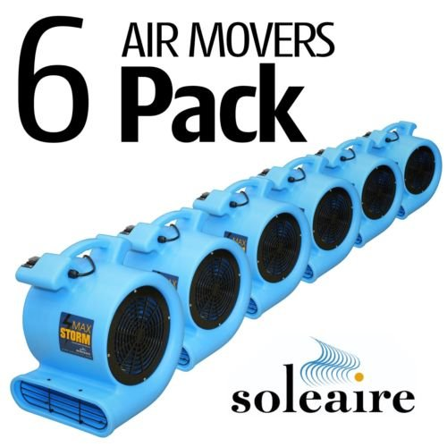 Max Storm 1/2 HP Air Mover for House and Janitorial Drying Carpet and Floor, Pack of 6, Blue