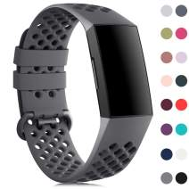 findway Bands Compatible with Fitbit Charge 4 /Charge 4 SE/Charge 3/Charge 3 SE, Breathable Sport Wristbands with Air Holes for Fitness Activity Tracker, Waterproof Replacement Strap for Women and Men